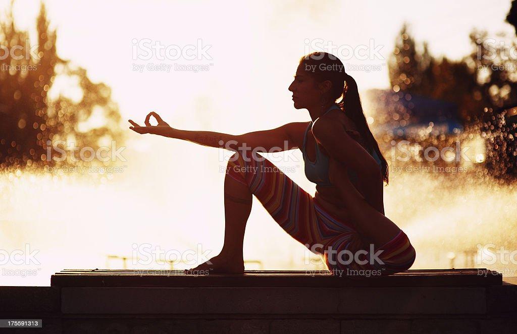 Yoga (Mrigasana) royalty-free stock photo
