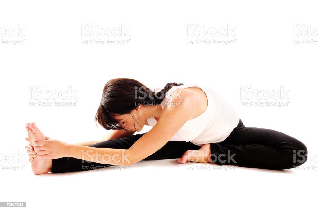 Yoga Pilates Single Leg Stretch royalty-free stock photo