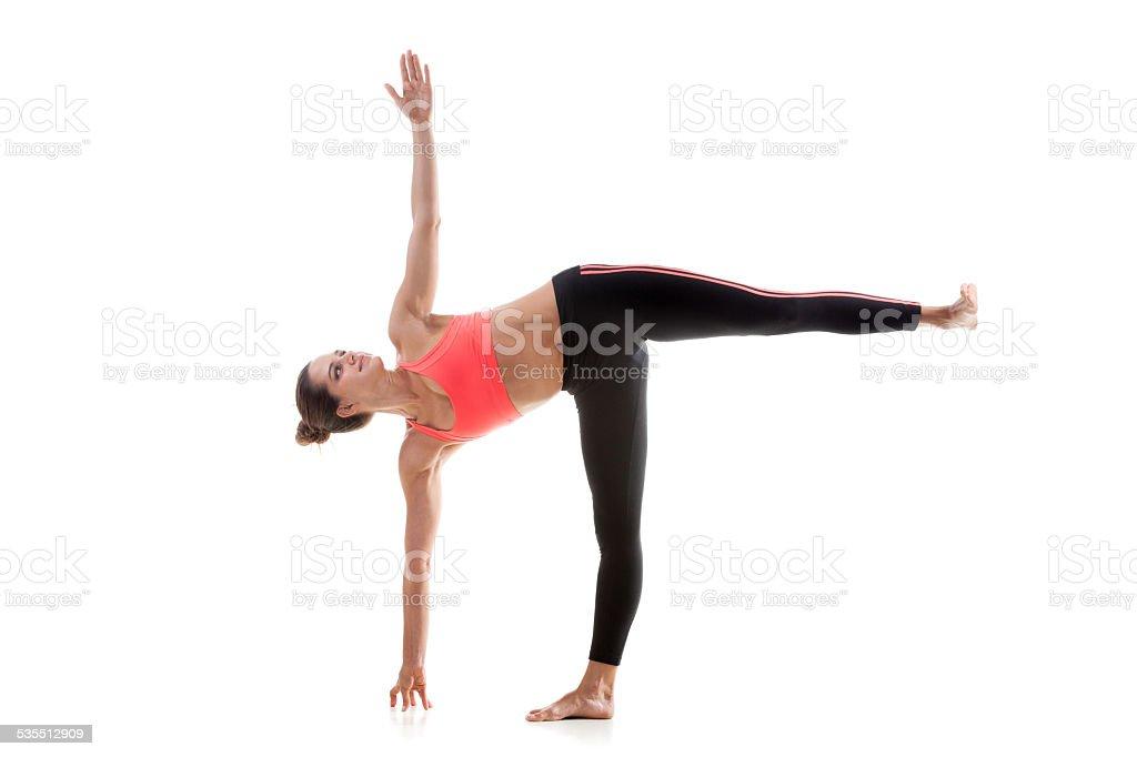 Yoga Pose Ardha Chandrasana stock photo