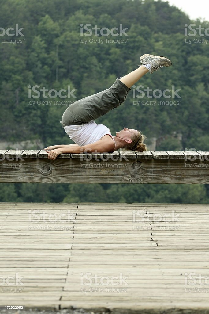 Yoga Pose on Back stock photo