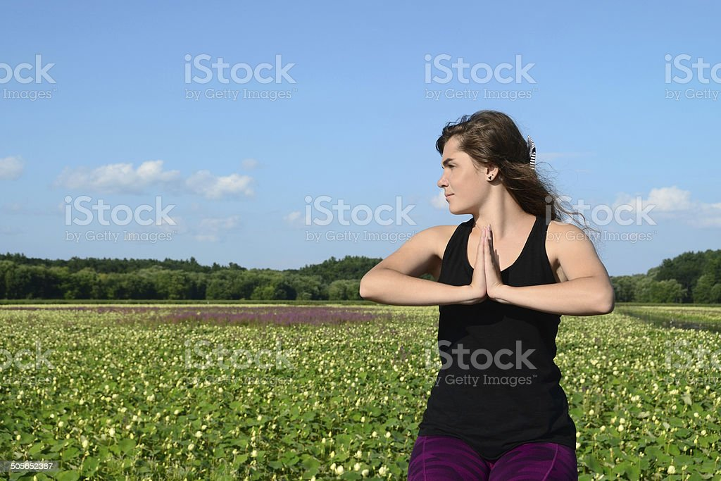 Yoga Pose Outdoors royalty-free stock photo