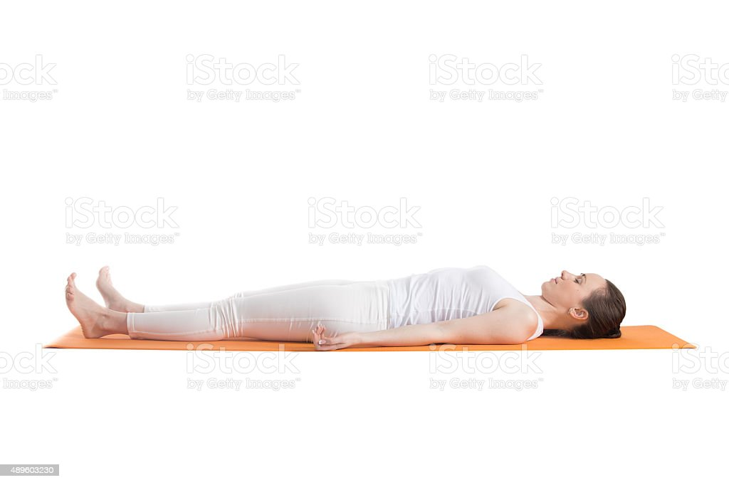 Yoga pose Savasana stock photo