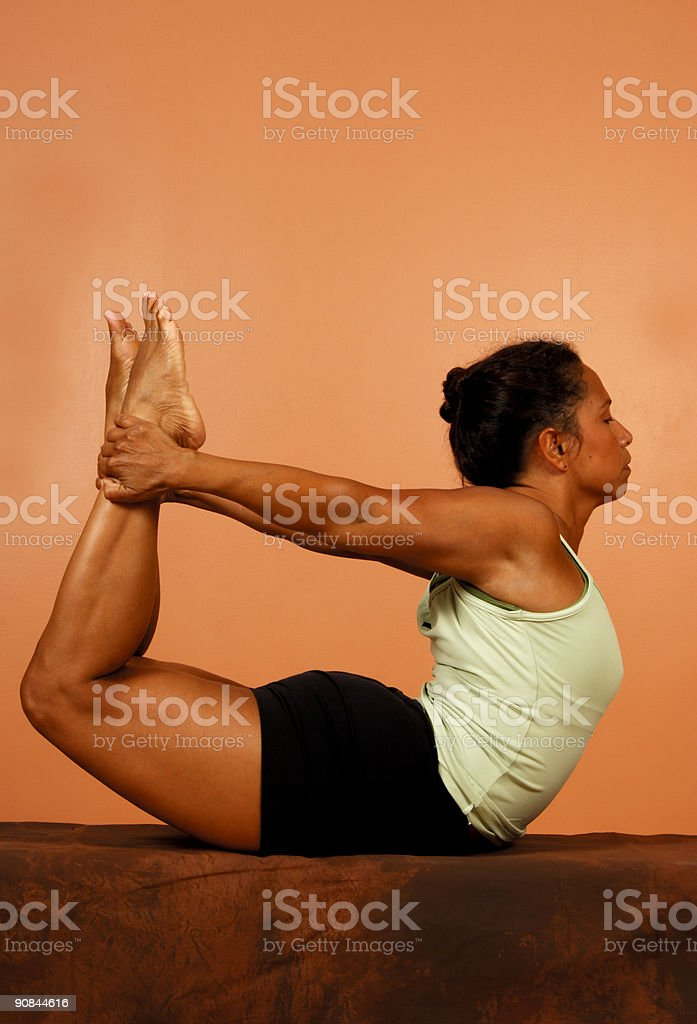 Yoga Pose Spinal Bend royalty-free stock photo