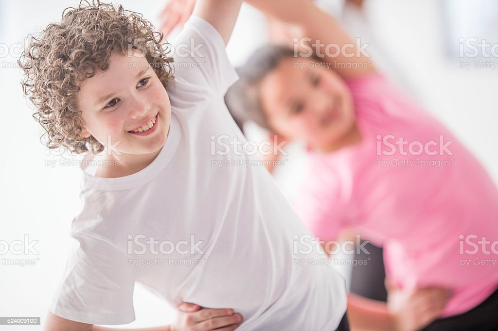 Yoga Poses in Physical Education stock photo