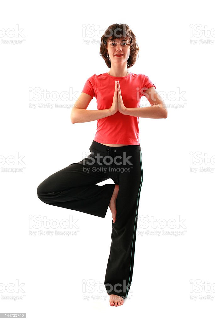 Yoga poses series. Tree Pose. Vrikshasana royalty-free stock photo