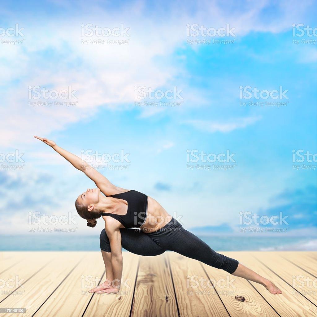 Yoga, posing, gym stock photo