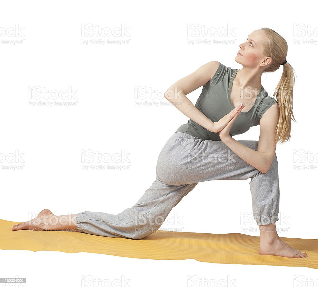yoga position looking back young girl stock photo