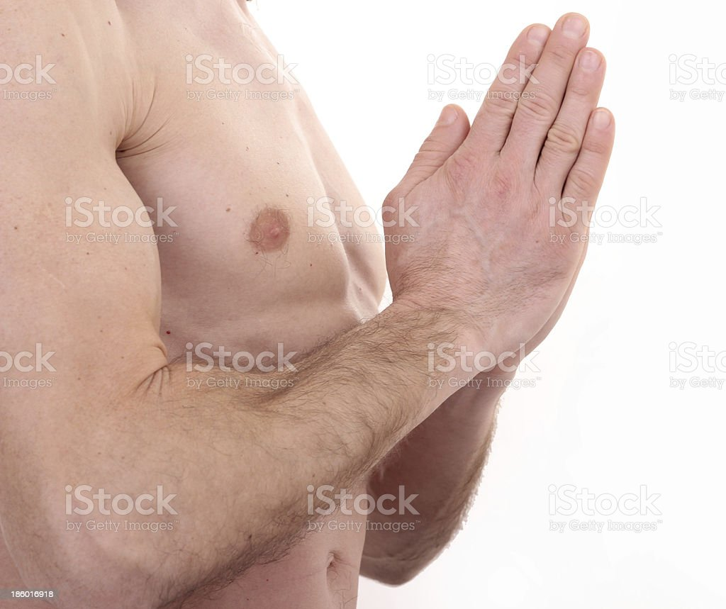 Yoga position - prayer royalty-free stock photo