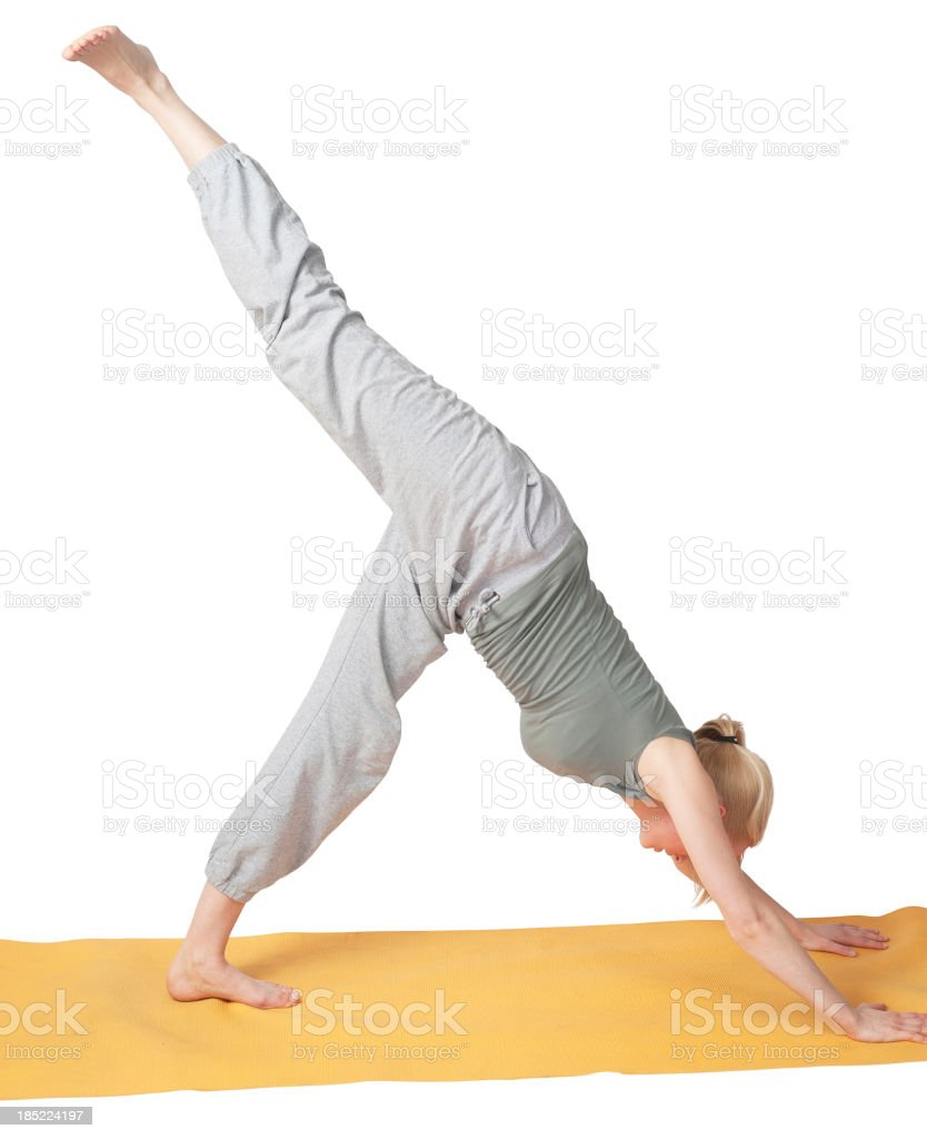 yoga position with high leg royalty-free stock photo