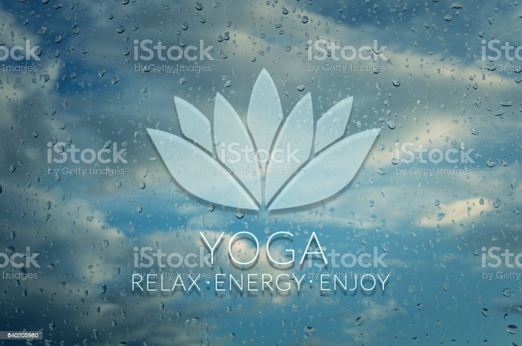 Yoga. Poster for yoga class with a clouds view. stock photo