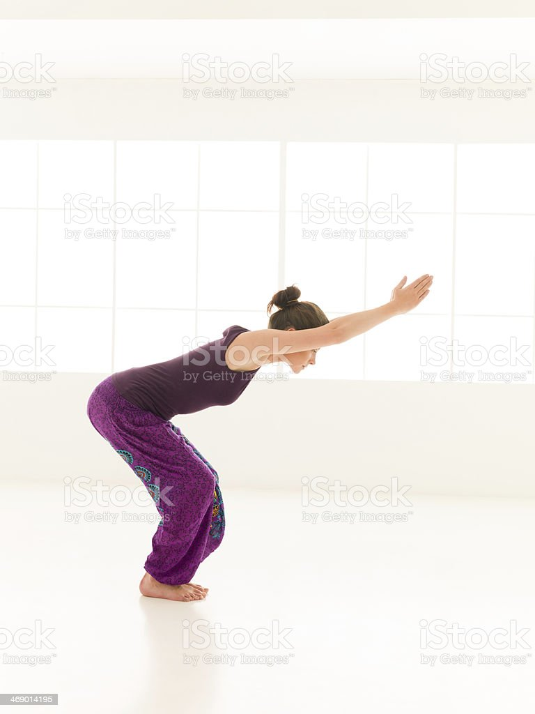 yoga practice for beginner stock photo