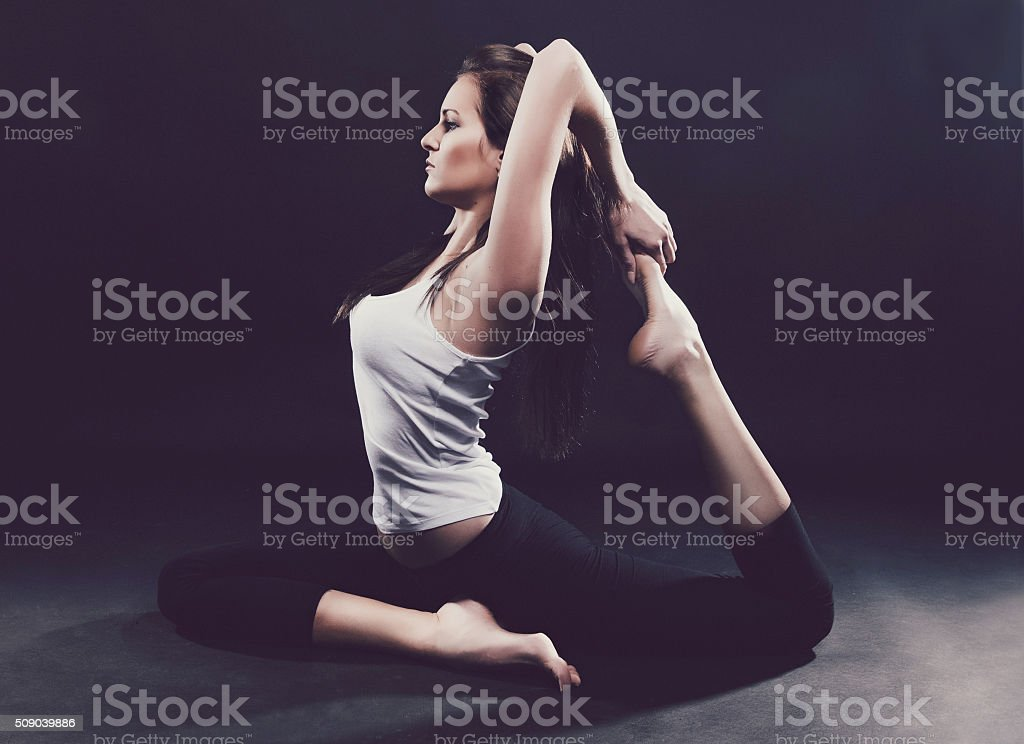 yoga practicing stock photo