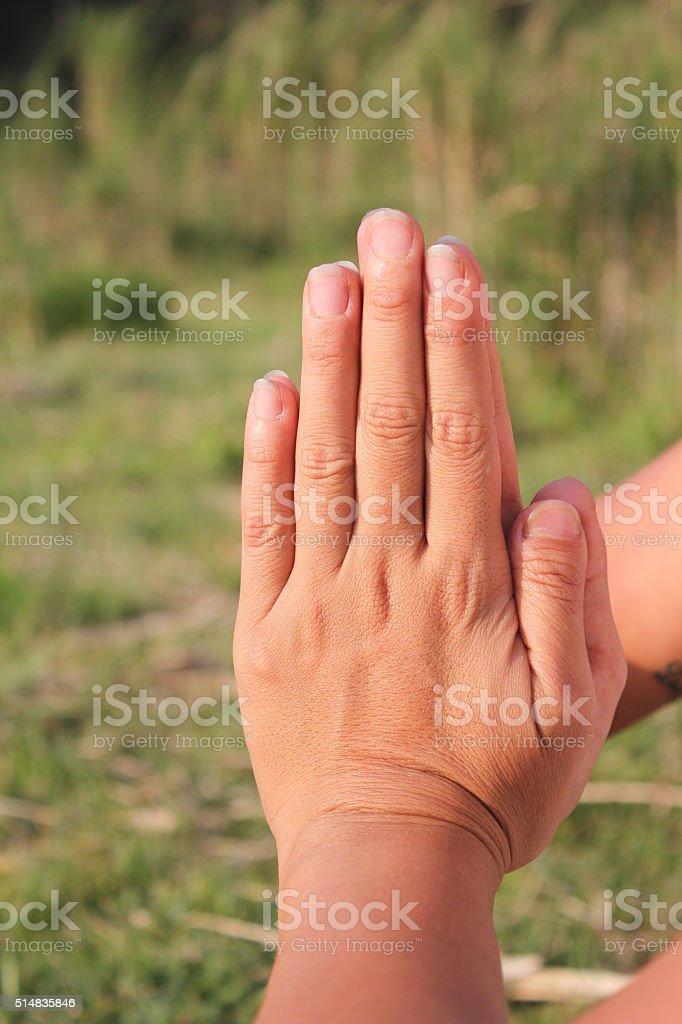 Yoga prayer hands stock photo