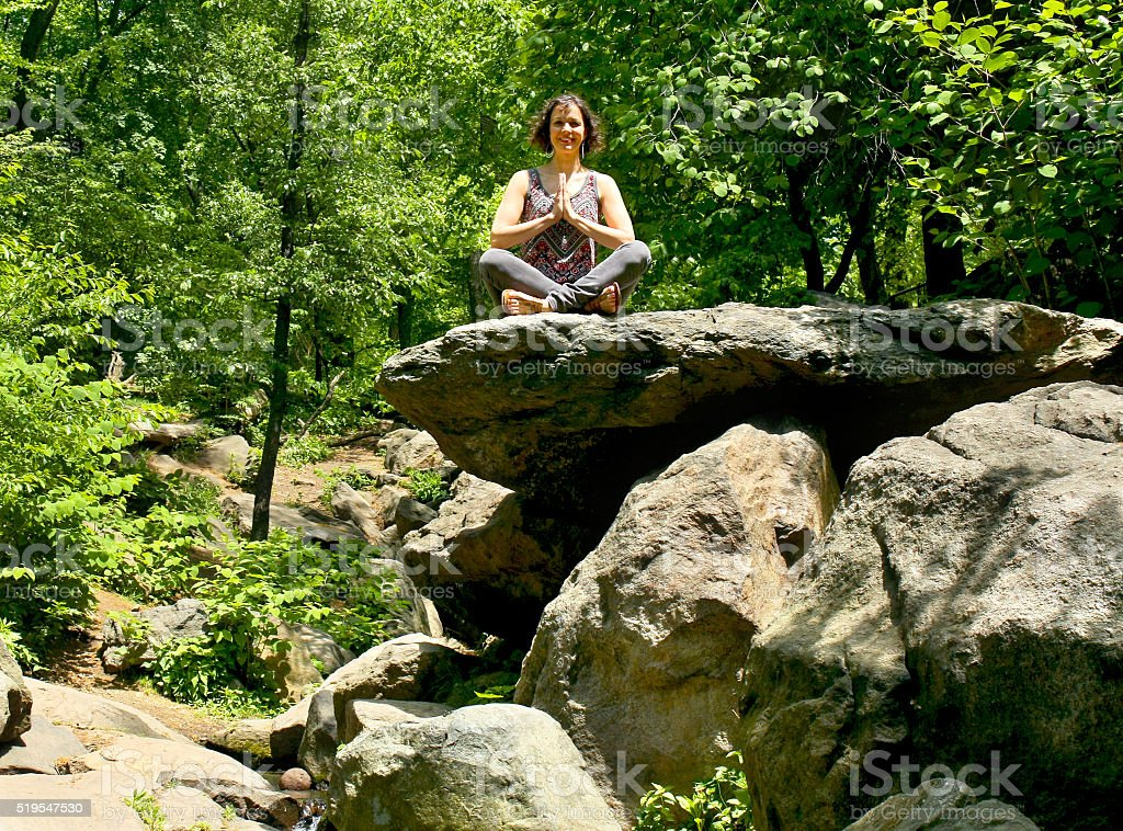 Yoga Prayer hands seated stock photo