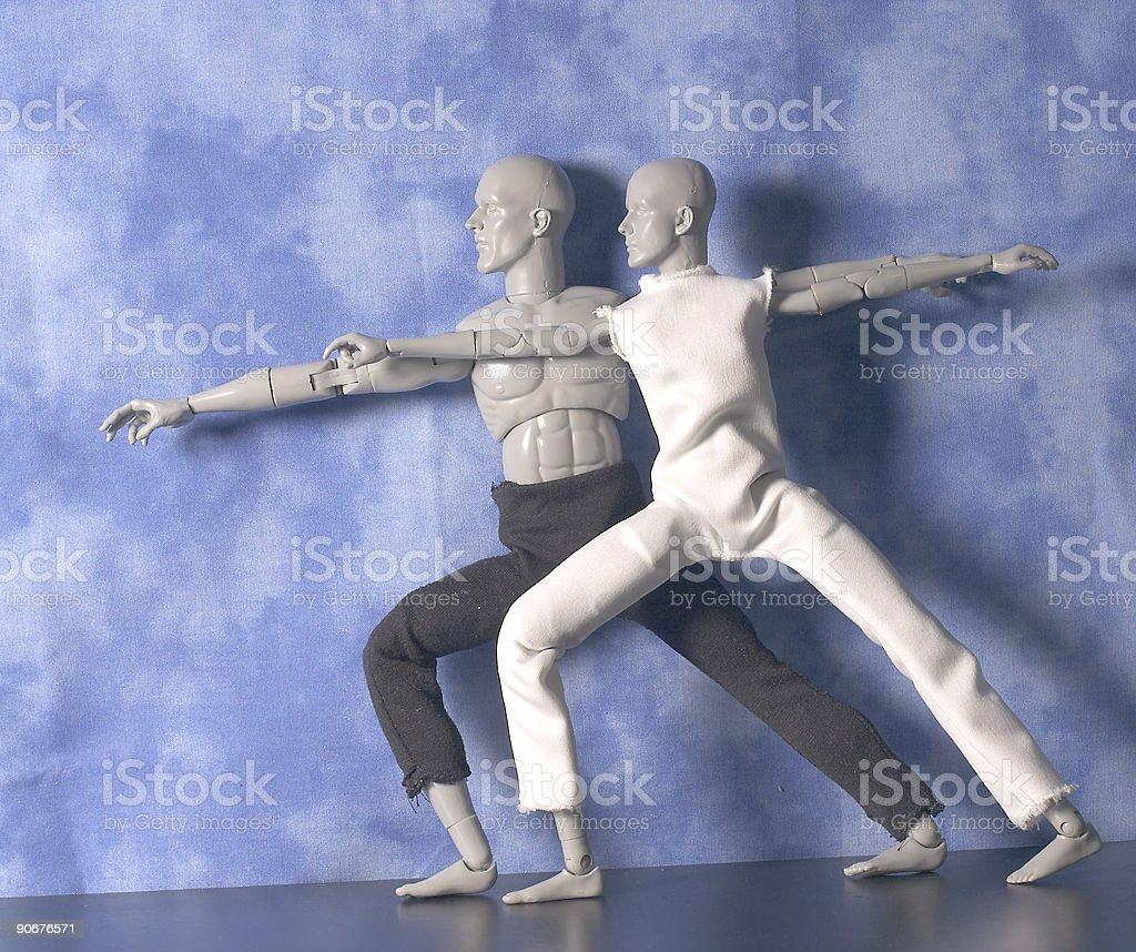 yoga: proud warrior pose royalty-free stock photo