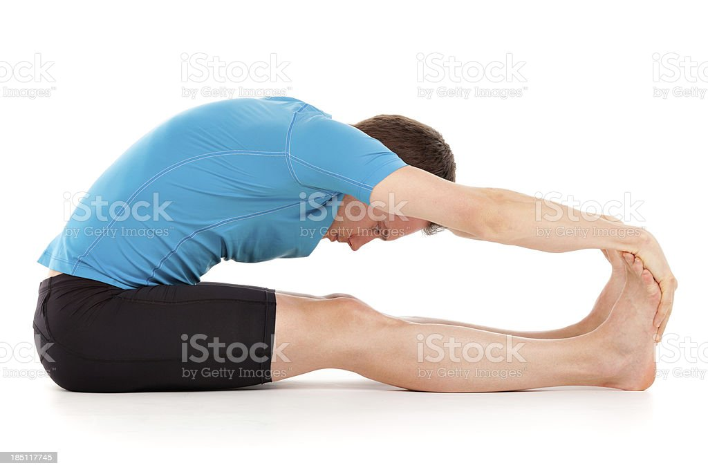 Yoga Seated Forward Bend position three stock photo