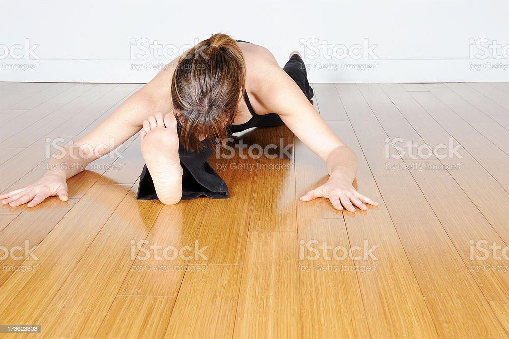 Yoga Series: Bent Stretch (Copyspace) stock photo