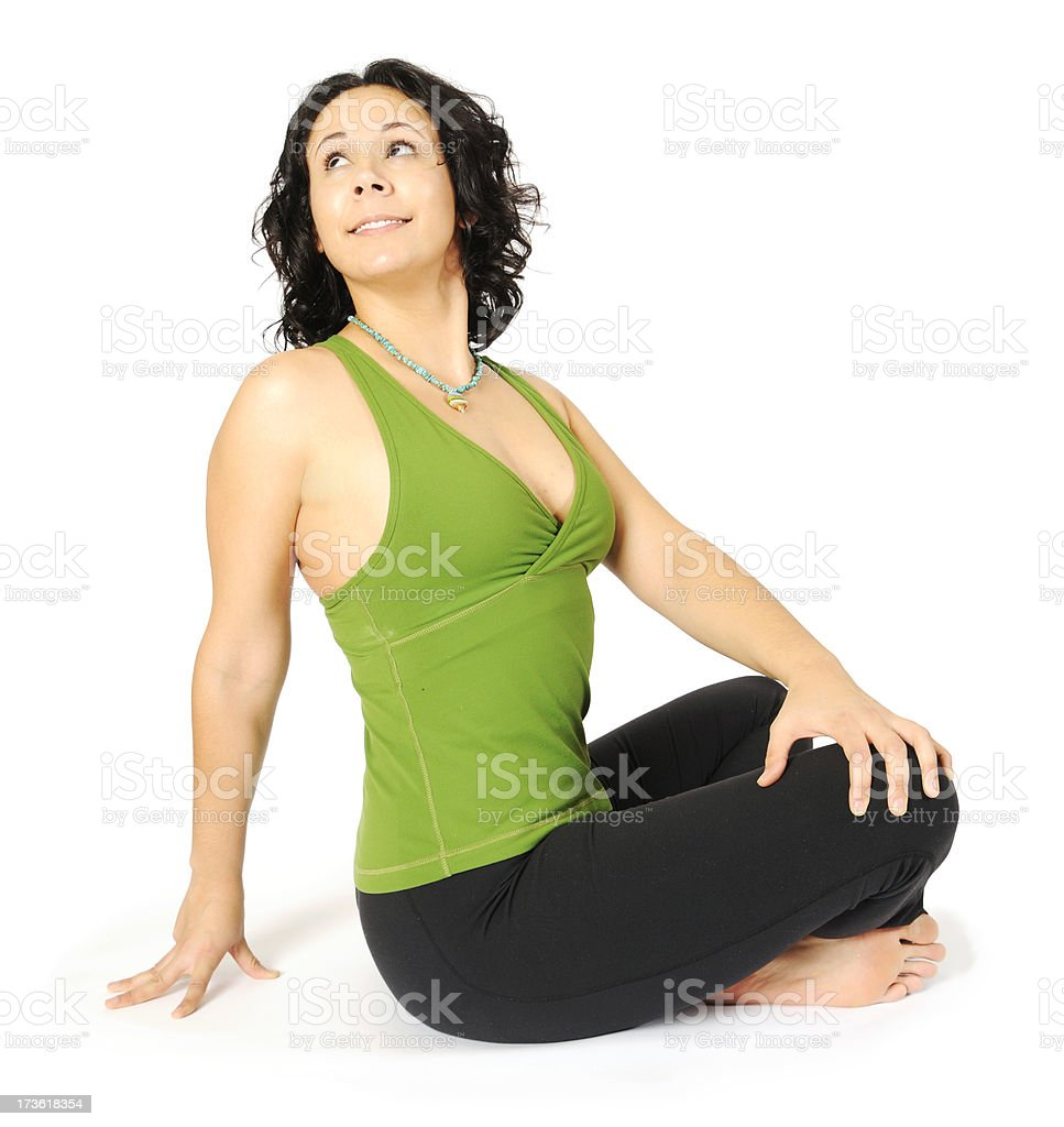Yoga Series: Crossed-legged Stretch royalty-free stock photo