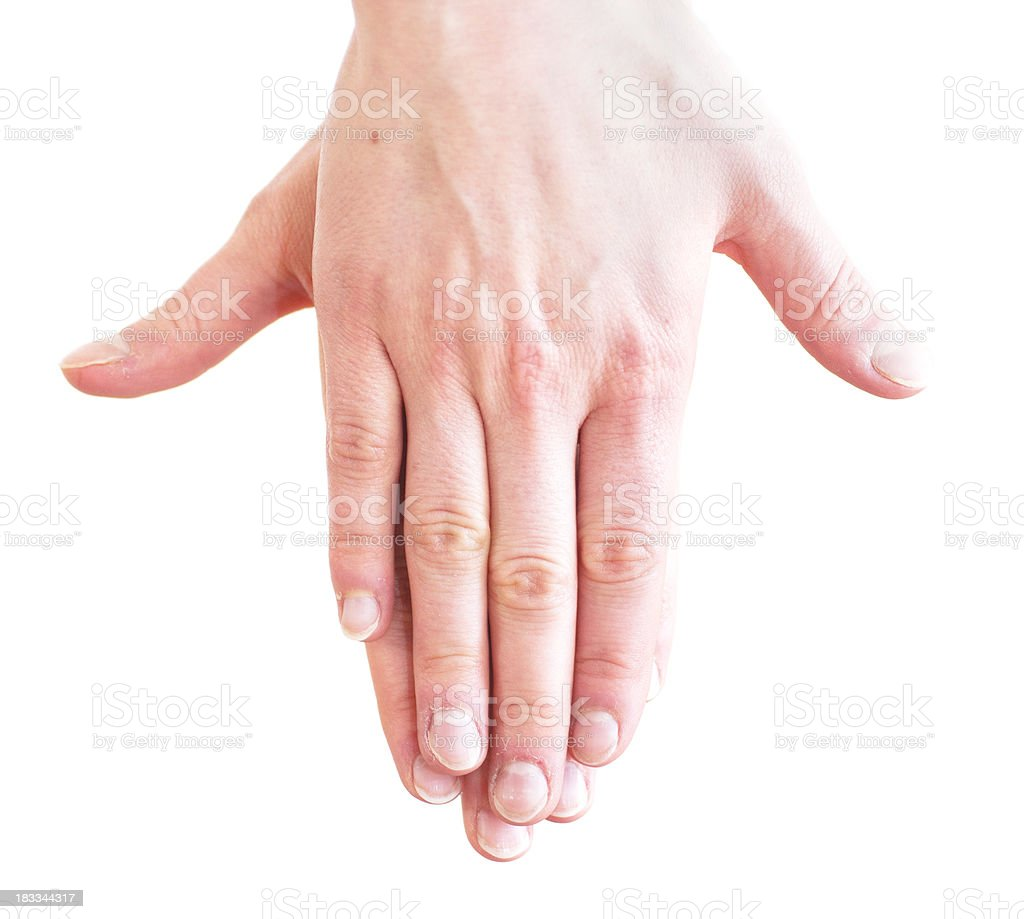 yoga sign with hand stock photo