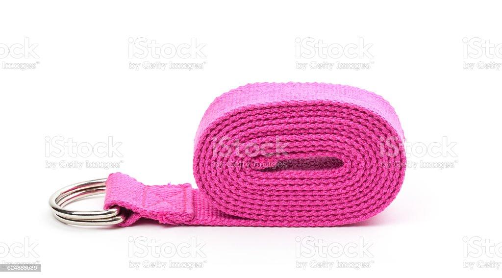 Yoga strap isolated on white background stock photo