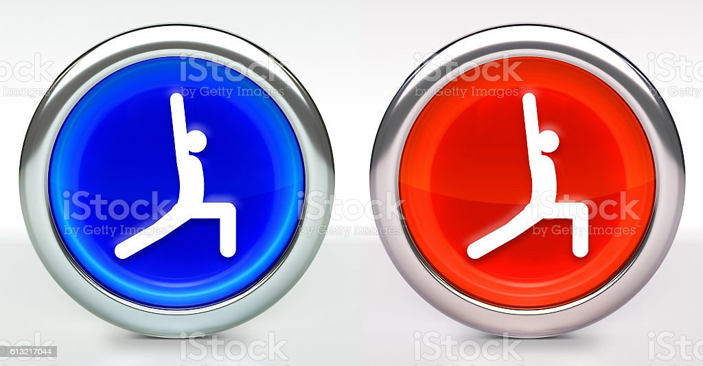 Yoga Stretch Icon on Button with Metallic Rim stock photo