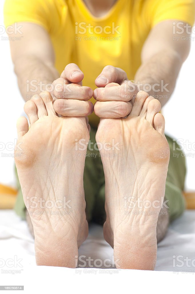 yoga stretching of toes stock photo