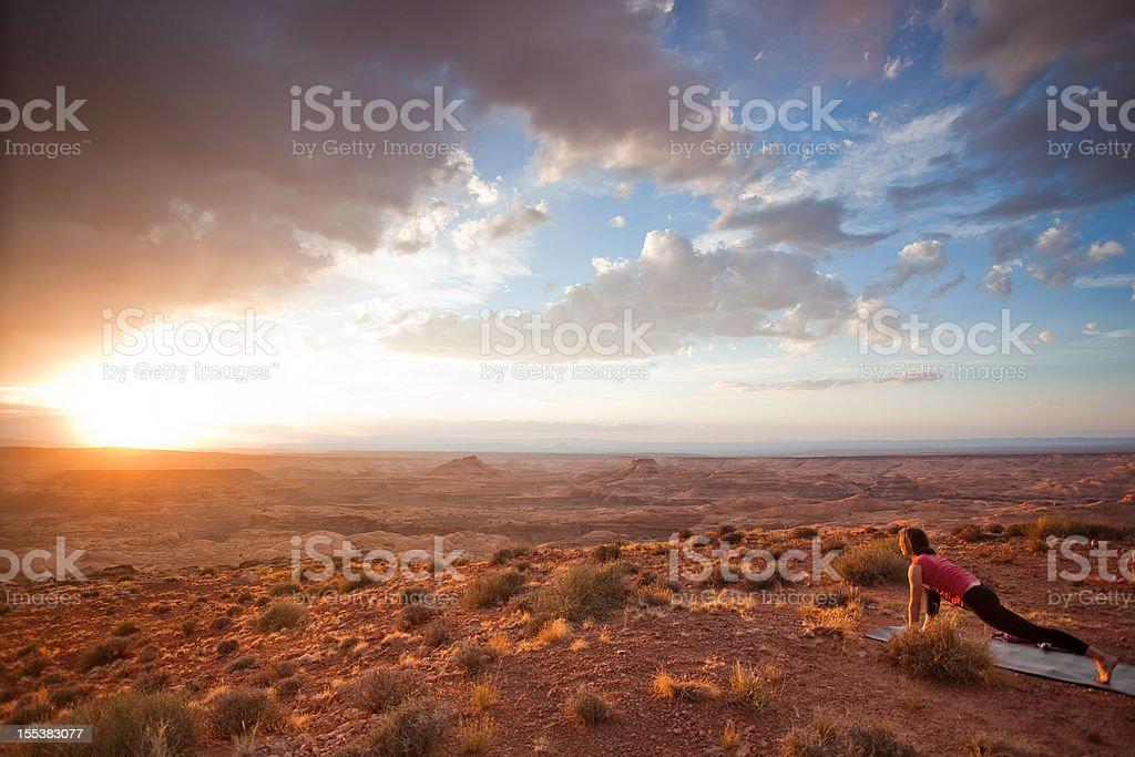yoga sunset stock photo