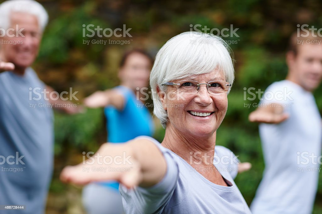 Yoga takes me to my happy place stock photo