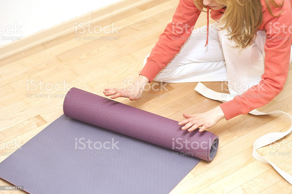 yoga tidy up gym utensil paraphernalia stock photo