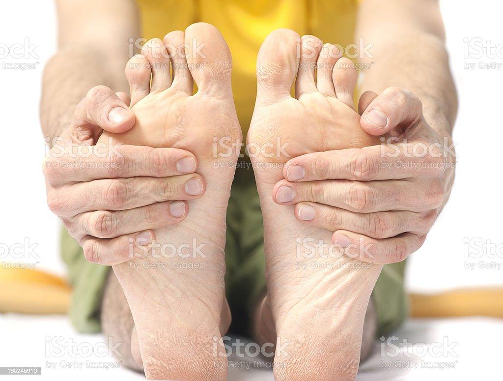 yoga - touching bottom of feets stock photo