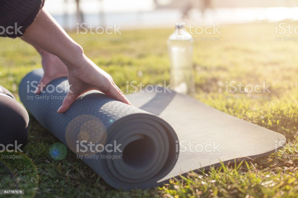 Yoga training concept stock photo