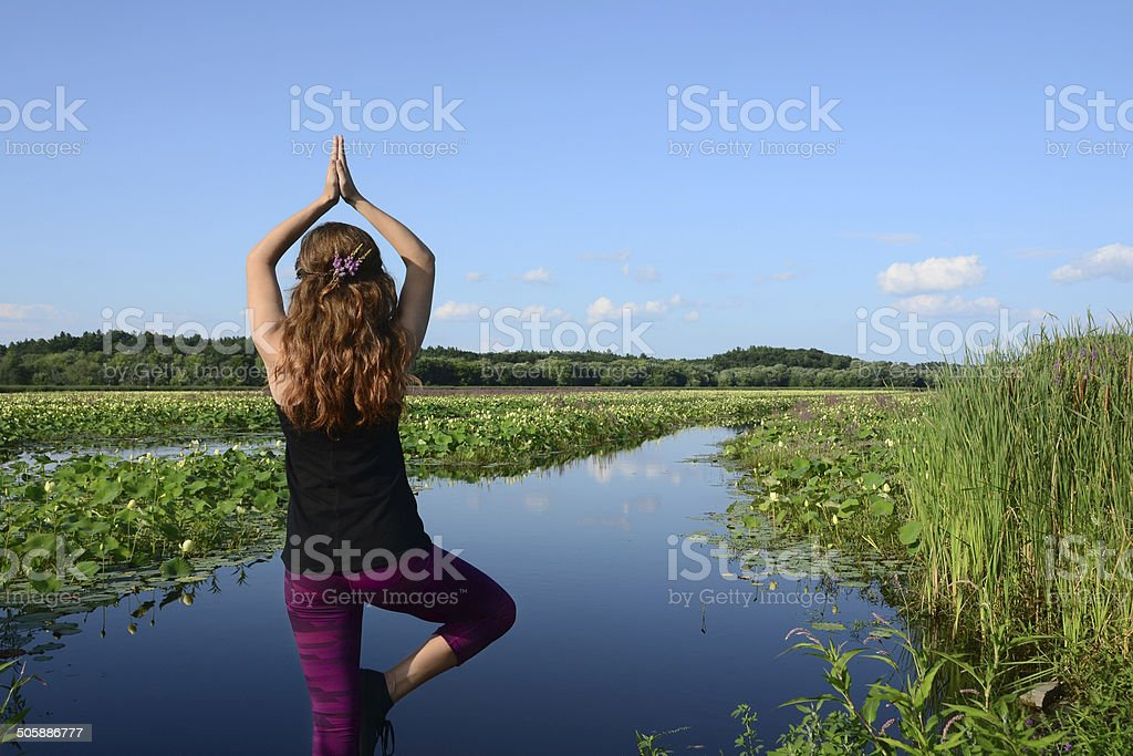 Yoga Tree Pose Outdoors royalty-free stock photo