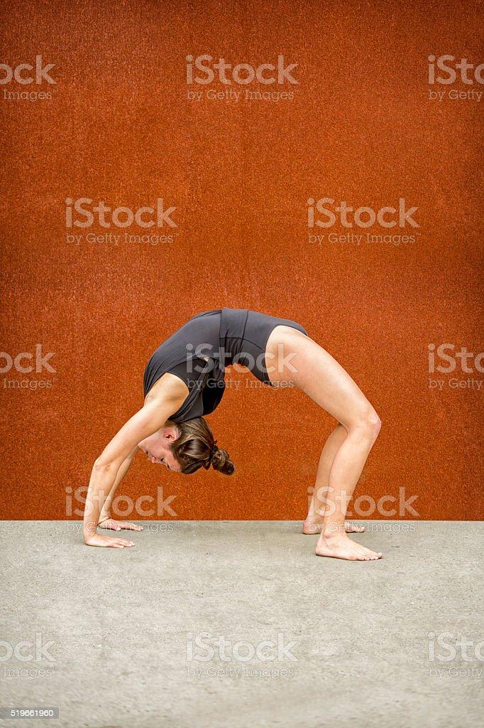 Yoga Wheel Pose stock photo