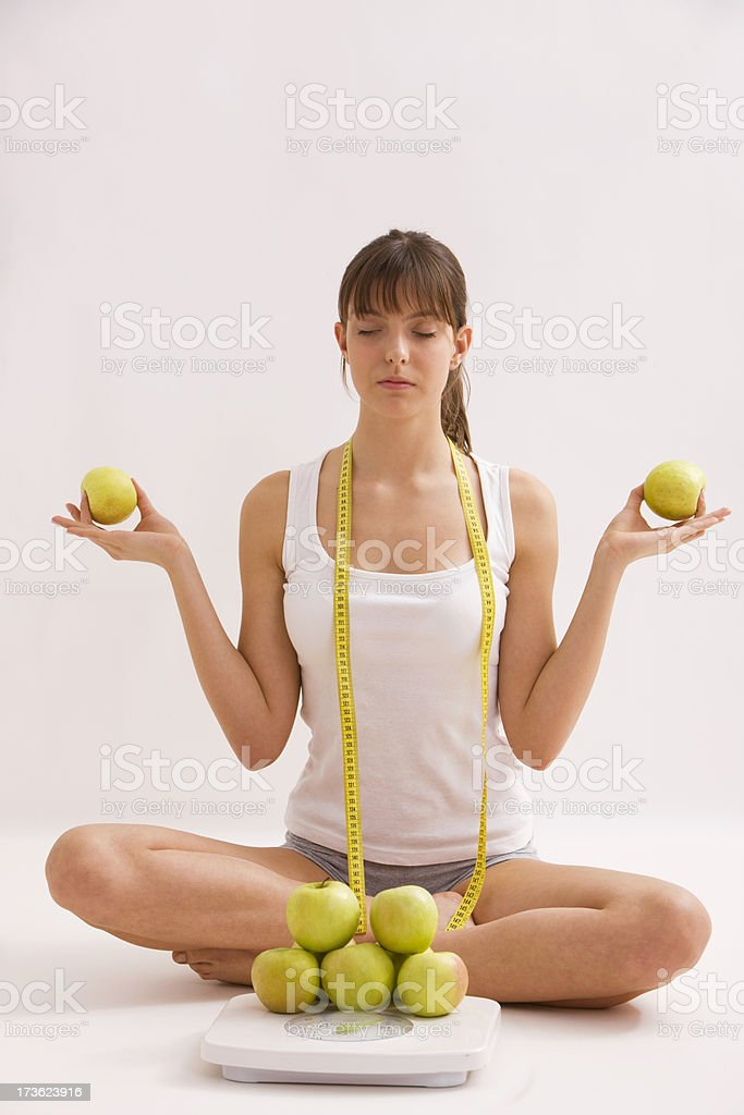 Yoga  with apples royalty-free stock photo