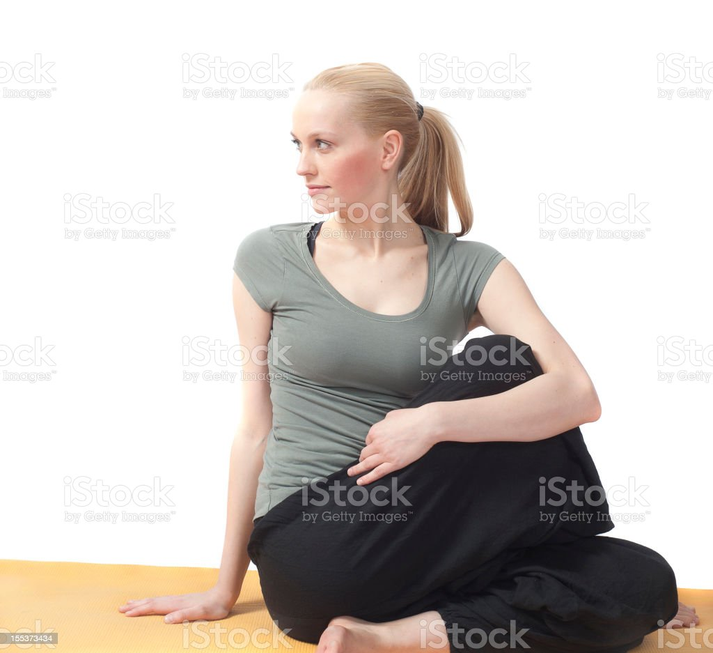 yoga woman alone at aerobic training stock photo