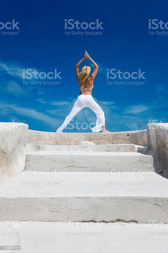 yoga woman and stairs royalty-free stock photo