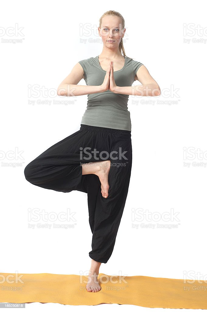 yoga woman doing training and holding balance stock photo