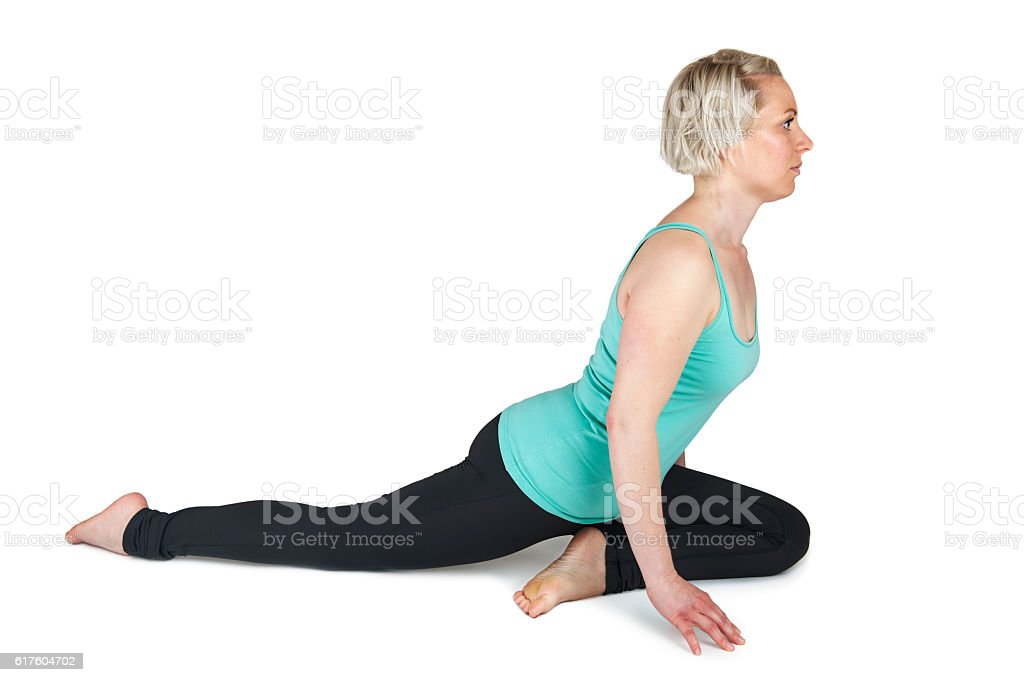 Yoga woman green position_142 stock photo