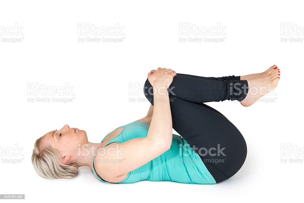 Yoga woman green position_27 stock photo