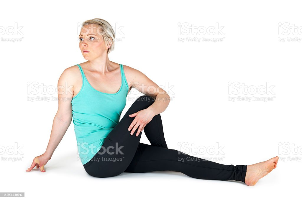 Yoga woman green position_64 stock photo