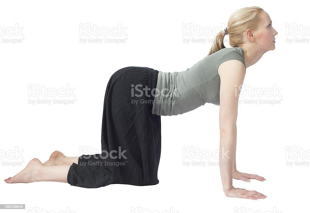 yoga woman isolated on white making the dog stock photo