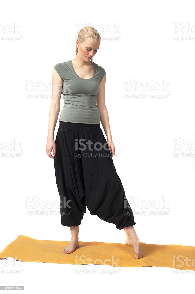 yoga woman with black trousers stock photo