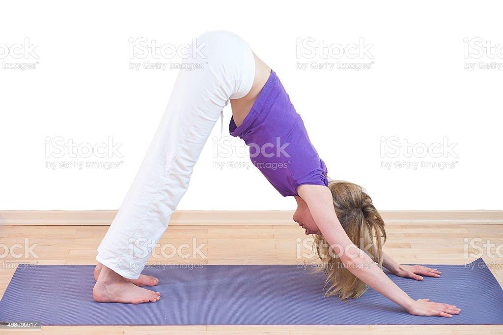yoga woman with pink magenta dress meditating royalty-free stock photo