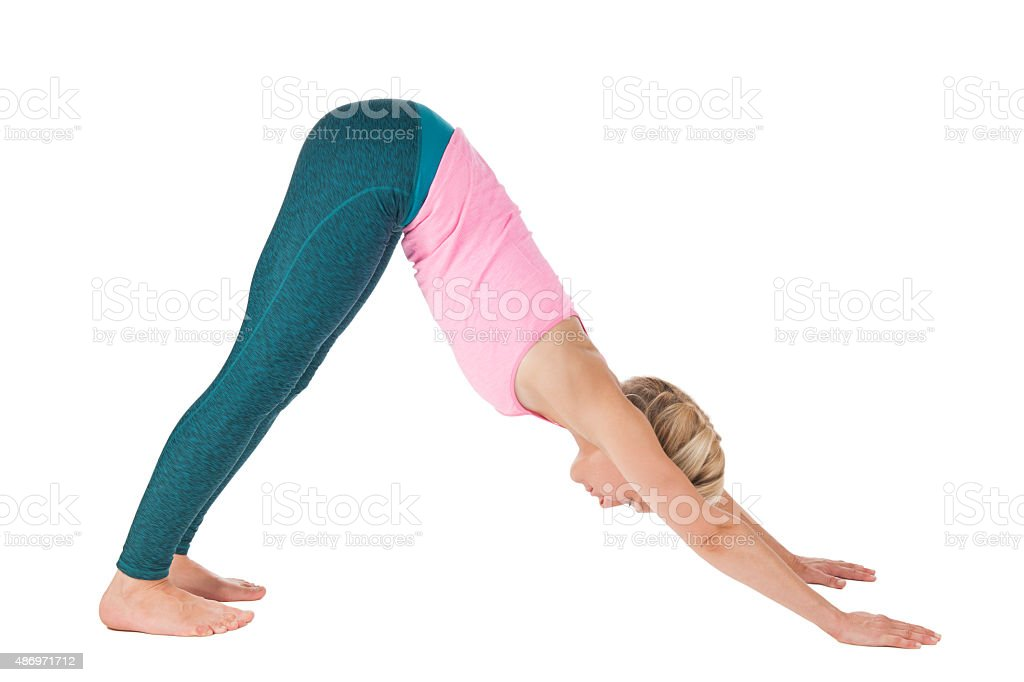Yoga_Adho Mukha Svanasana_step_5 stock photo