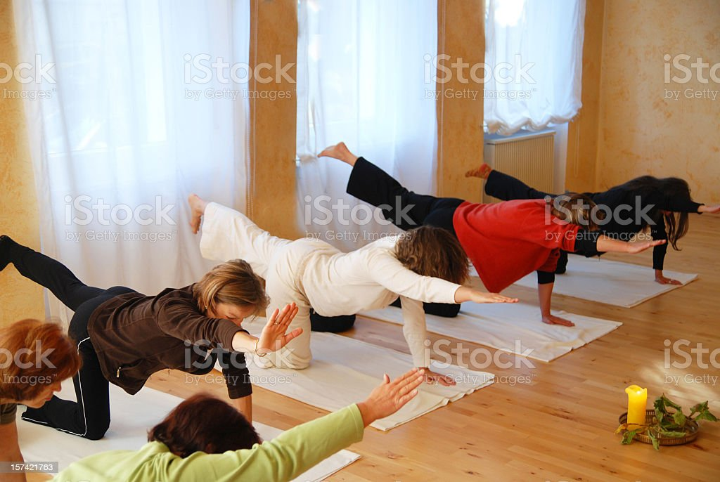 yogagroup in training stock photo