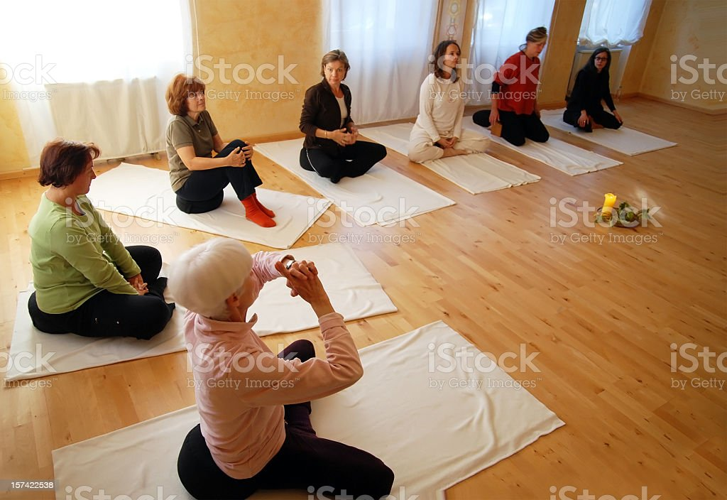 yogagroup training indoor stock photo