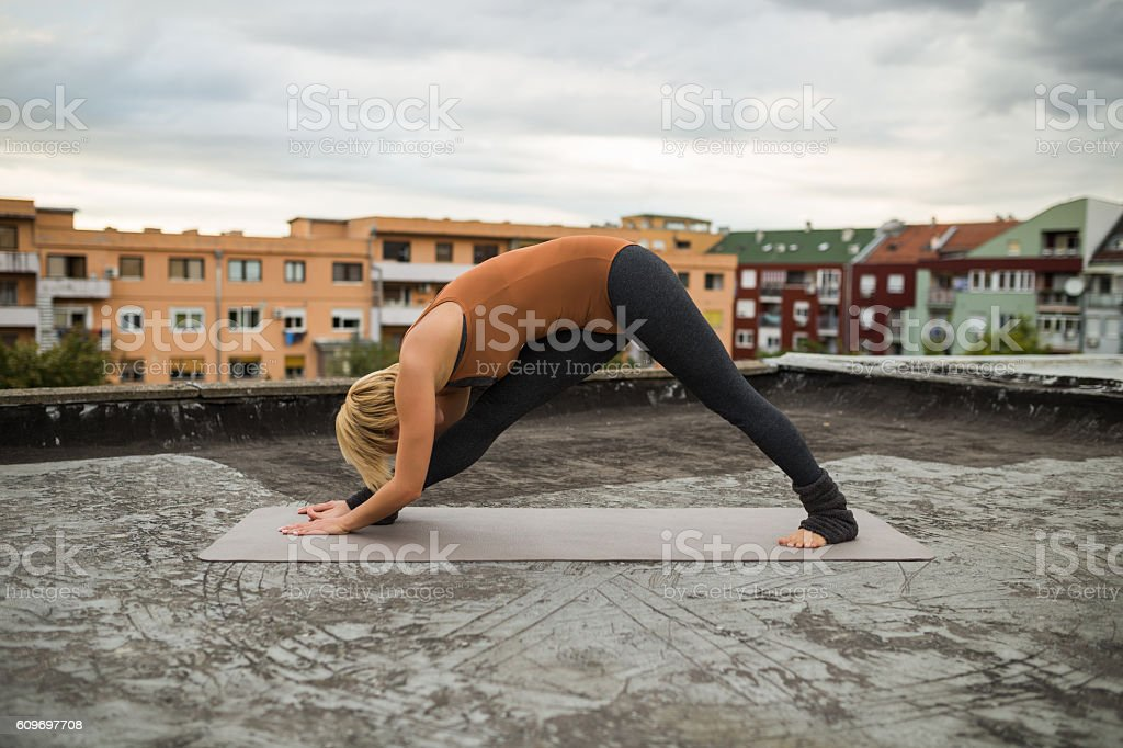 Yoga-Parsvottanasana /Intense side stretch stock photo