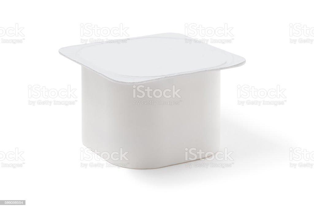 yoghurt pot. isolated on white stock photo