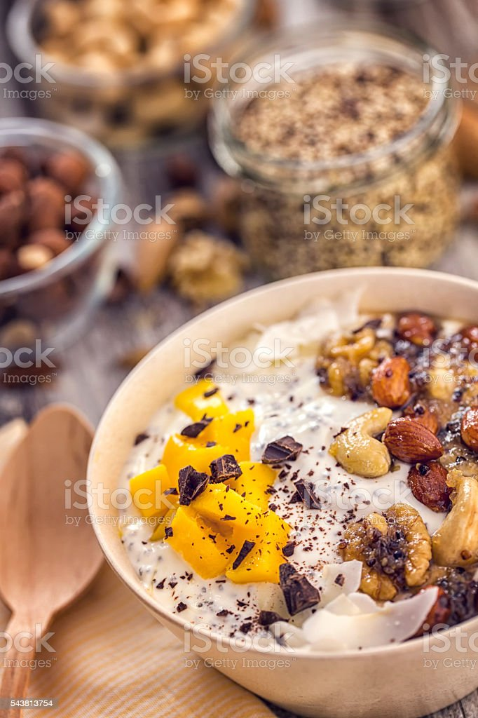 Yoghurt with Fresh Fruits and Honey Nuts stock photo
