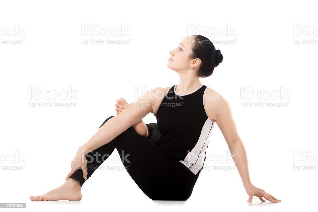 Yogi athlete girl in yoga asana stock photo